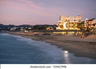 ALBANIA, GOLEM- September 21, 2015: Evening beach at sunset in the resort of Golem on the Adriatic coast.