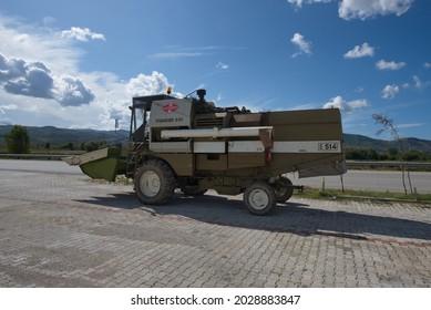 """ALBANIA - OCTOBER 5, 2019: Combine harvester """"Fortschritt E 514""""."""