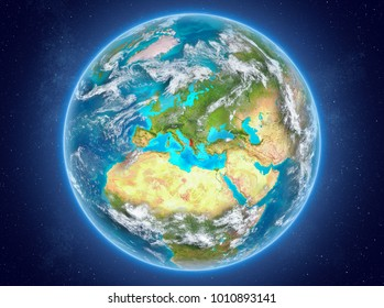 Albania in red on model of planet Earth with clouds and atmosphere in space. 3D illustration. Elements of this image furnished by NASA.