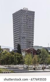 Albania, Tirana - July 2017: Huge unfinished skyscraper in the center of Tirana, Albania