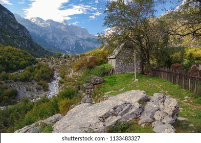 Albanian Alps (Prokletije or Accursed Mountains). Scenic high terrain during autumn. Valley river Shala. Albania, Shkoder County, Theth National Park