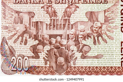 Albanian banknote. 200 Leke (1994) Albanian money. Leke is the national currency of Albanian. Close Up UNC Uncirculated - Collection.