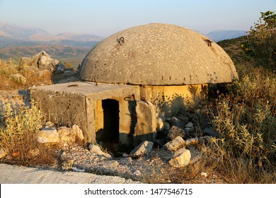Albanian bunker is national heritage and shelter. Safety bunker in Saranda.