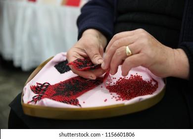 Albanian flag in handicraft