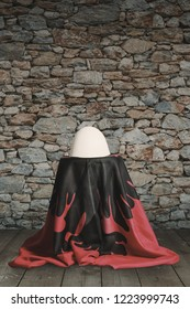 albanian hat and albanian flag laying on wooden floor in front of stone wall