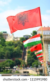 Albanian and hungarian flag in Budapest