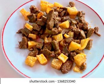 Albanian liver with Cubed Potatoes / Arnavut Cigeri. Traditional Cube Meat Food.