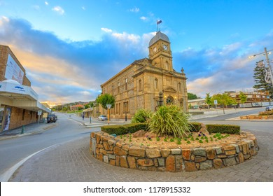 Albany, Australia - Dec 28, 2017: iconic Albany Town Hall with clock tower is opened in 1888 is the first civic building constructed in Albany, York Street, Western Australia, at twilight.