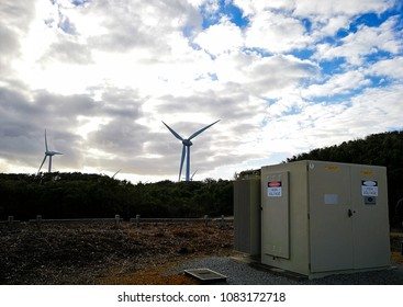 Albany, Australia - September 4, 2017: Wind turbine storage system place near the wind farm.