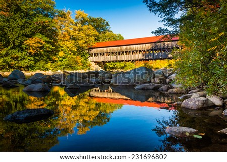 Albany Covered Bridge, along the Kancamagus Highway in White Mountain National Forest, New Hampshire.