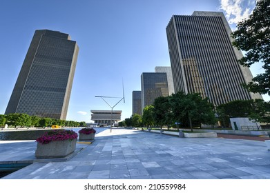 ALBANY, NEW YORK - JULY 6, 2014: Empire State Plaza, a complex of several state government buildings in downtown Albany, New York.