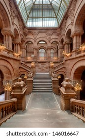 ALBANY, NEW YORK - JUNE 27, 2013: The Great Western Staircase, also known as the Million Dollar Staircase, in the New York State Capitol building on June 27, 2013 in Albany, New York