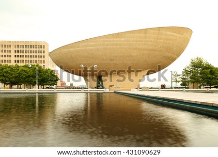 Albany, New York - May 28, 2016: The Egg is a performing arts venue in Albany, New York. Named for its shape, the building was located at the Empire State Plaza.
