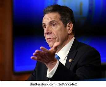 Albany, New York / United States 4/8/2020 New York Gov. Andrew Cuomo announces updates on the spread of the Coronavirus during news conference in the Red Room at the state Capitol.