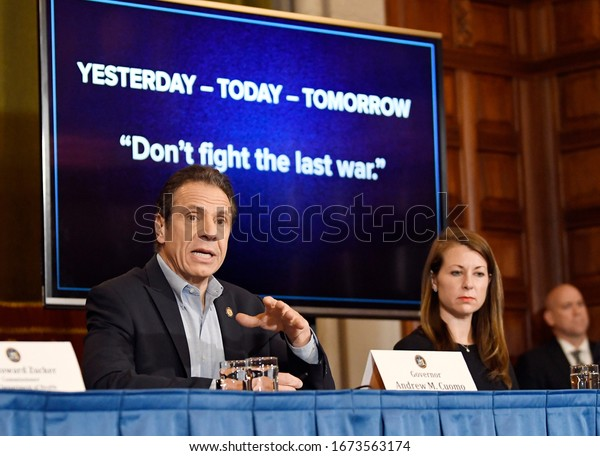 Albany, New York / United States 3/15/2020 New York Gov. Andrew Cuomo announces updates on the spread of the coronavirus during a news conference at the state Capitol.
