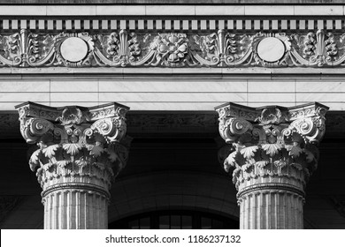 ALBANY, NEW YORK, USA - AUGUST 6, 2018: Closeup of two pillars of the New York State Education Department building on Washington Avenue in Albany, New York