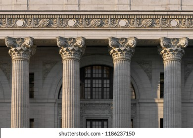 ALBANY, NEW YORK, USA - AUGUST 6, 2018: Closeup of four pillars of the New York State Education Department building on Washington Avenue in Albany