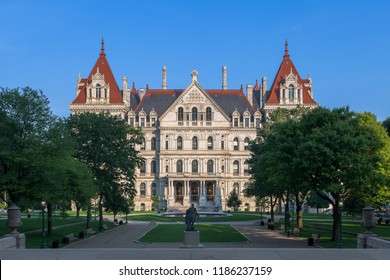 ALBANY, NEW YORK, USA - AUGUST 6, 2018: New York State Capitol building and West Capitol Park at State Street and Washington Avenue in Albany