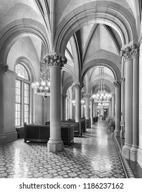 ALBANY, NEW YORK, USA - AUGUST 6, 2018: Corridor and lounge area outside the Senate Chamber of the New York State Capitol building at State Street and Washington Avenue in Albany