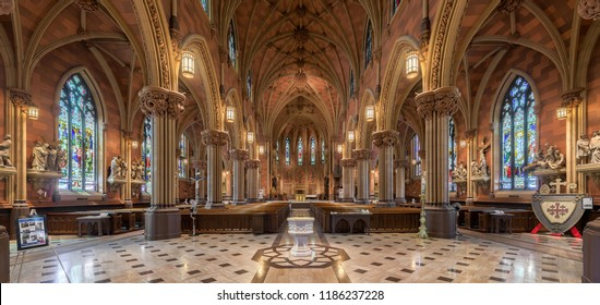 ALBANY, NEW YORK, USA - AUGUST 6, 2018: Panorama of the interior of the historic Cathedral of the Immaculate Conception on Eagle Street in Albany