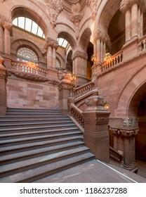 "ALBANY, NEW YORK, USA - AUGUST 6, 2018: The Great Western Staircase (or ""Million Dollar Staircase"") inside the New York State Capitol building in Albany"