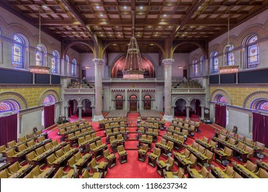ALBANY, NEW YORK, USA - AUGUST 6, 2018: The House of Assembly chamber from the balcony inside the historic New York State Capitol building in Albany, New York