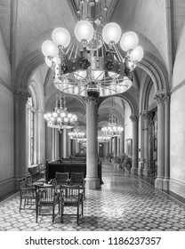 ALBANY, NEW YORK, USA - AUGUST 6, 2018: Corridor and lounge area outside the Senate Chamber of the New York State Capitol building in Albany