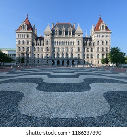ALBANY, NEW YORK, USA - AUGUST 5, 2018: Exterior of the New York State Capitol building from Empire State Plaza at State Street and Washington Avenue in Albany