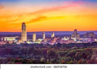 Albany, New York, USA city skyline at dusk in autumn.