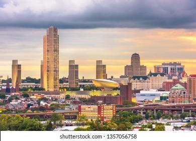 Albany, New York, USA downtown city skyline at dusk.