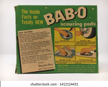 Albany, New York / U.S.A. - May 1, 2019: Vintage cleaning supplies from the 1940s and 1950s with mid-century advertising. Bab-O was a nationally known brand of soap filled scouring pads for cleaning.