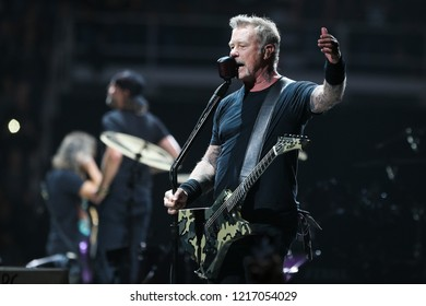ALBANY, NY - OCTOBER 29: James Hetfield of Metallica performs in concert at Times Union Center on October 29, 2018 in Albany, New York.