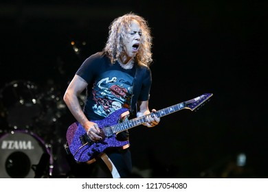 ALBANY, NY - OCTOBER 29: Kirk Hammett of Metallica performs in concert at Times Union Center on October 29, 2018 in Albany, New York.