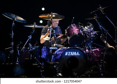 ALBANY, NY - OCTOBER 29: Lars Ulrich of Metallica performs in concert at Times Union Center on October 29, 2018 in Albany, New York.