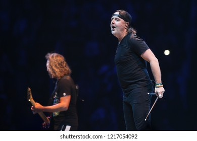 ALBANY, NY - OCTOBER 29: Lars Ulrich Hetfield of Metallica performs in concert at Times Union Center on October 29, 2018 in Albany, New York.