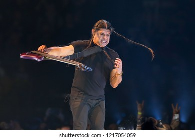ALBANY, NY - OCTOBER 29: Robert Trujillo of Metallica performs in concert at Times Union Center on October 29, 2018 in Albany, New York.