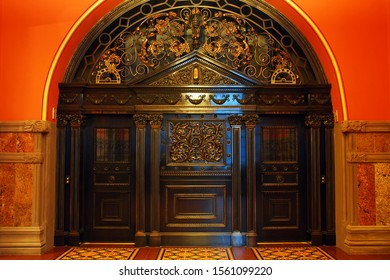 Albany, NY, USA April 14, 2013 An ornate set of elevator doors is used exclusively for elected officials in the New York State Capitol in Albany, New York