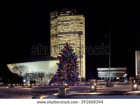 Albany, NY, USA - January 4, 2016: Downtown Albany capital buildings and - Albany NY USA January 4 2016 Stock Photo (Edit Now) 391868344