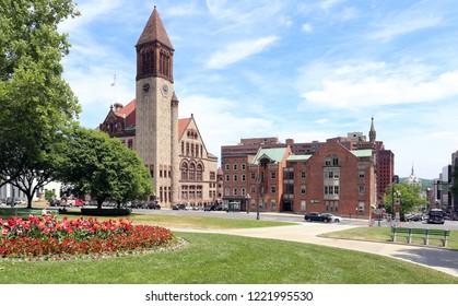 ALBANY, NY, USA - JUNE 22: A view of the city center in Albany, New York on June 22, 2018. Albany is the capital of the US state of New York.