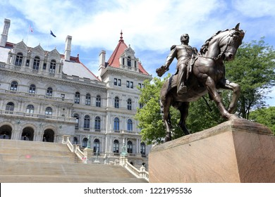 ALBANY, NY, USA - JUNE 22: The New York State Capitol Building in Albany, New York on June 22, 2018. The New York State Capitol Building is the seat of the New York state government.