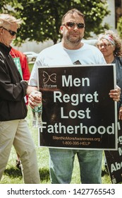 Albany, NY / USA - June 3, 2019: Pro Life Rally at the New York State Capital Building in Albany New York. Protesters gather outside of Albany State Capital Building to protest abortion laws