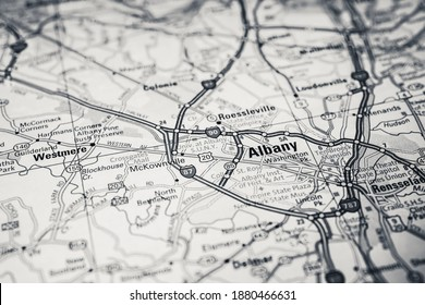 Albany on USA travel map
