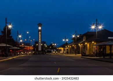 Albany, Oregon, USA - February 17th, 2021: Railway station in Albany illuminated in dusk