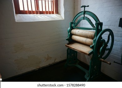 Albany, Western Australia /Australia - November 6th, 2019; Hand Crank Washing Machine or Mangle in Albany Convict Gaol