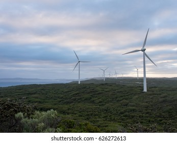 Albany wind farm at dusk, Western Australia