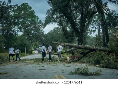 Albany,Georgia/United States of America-October 11th 2018: People Cleaning up after Hurricane Michael