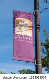 ALBANY,NY/USA - SEPTEMBER 29, 2019: Banner and logo on the campus of the University at Albany.