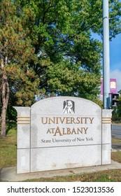 ALBANY,NY/USA - SEPTEMBER 29, 2019: Entrance sign and logo on the campus of the University at Albany.