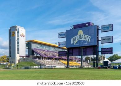 ALBANY,NY/USA - SEPTEMBER 29, 2019: Tom and Mary Casey Stadium on the campus of the University at Albany.