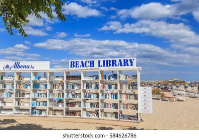 ALBENA, BULGARIA - JULY 18, 2016: Free beach library opened  at the Black Sea resort of Albena. Bulgaria
